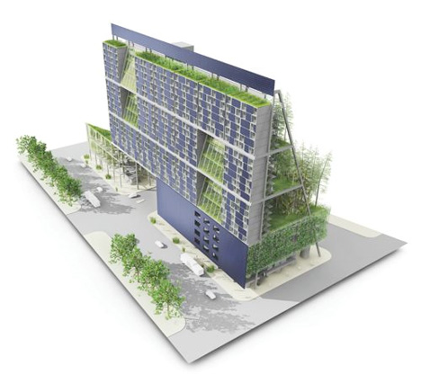 The vertical urban farm features shipping container apartments coupled with 22 000 square feet of rooftop gardens and terraces