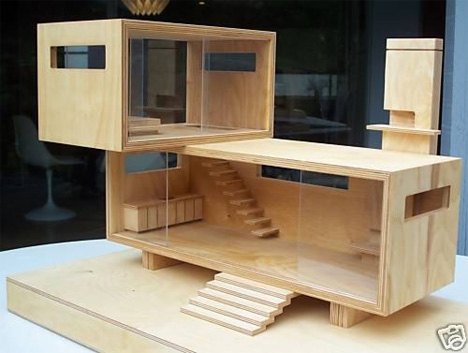 birch modern doll house