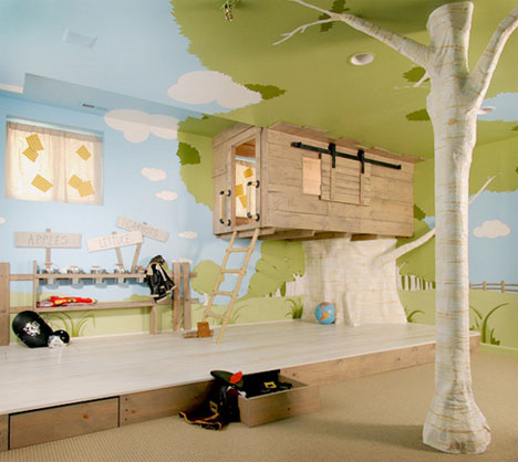 Kids Bedroom Designs on Awesome Bedroom Treehouse For Kids
