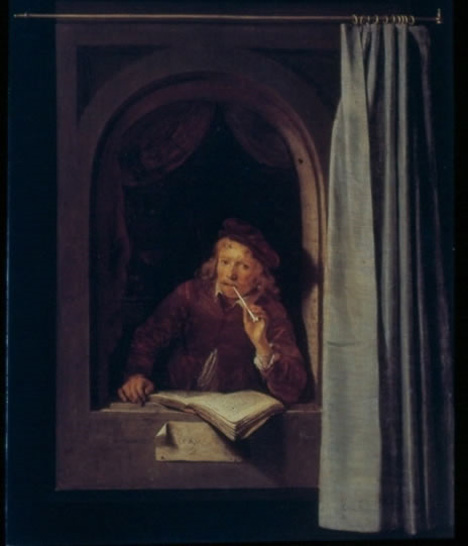 man in window with pipe