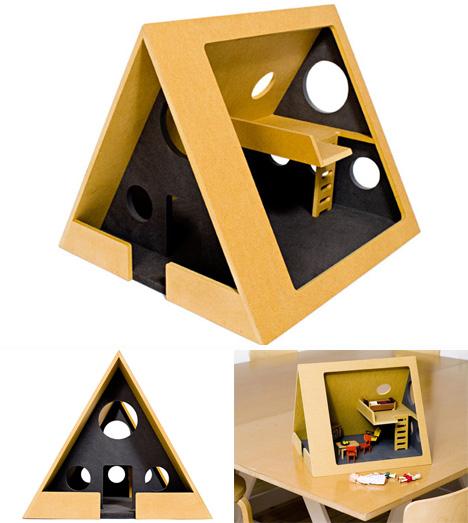 modern a-frame dollhouse