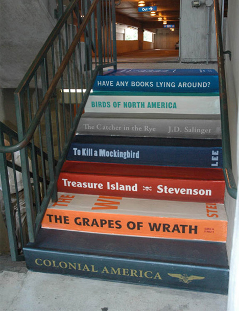 Stupendous steps 15 great escalator stair ads urbanist for Behang trapgat