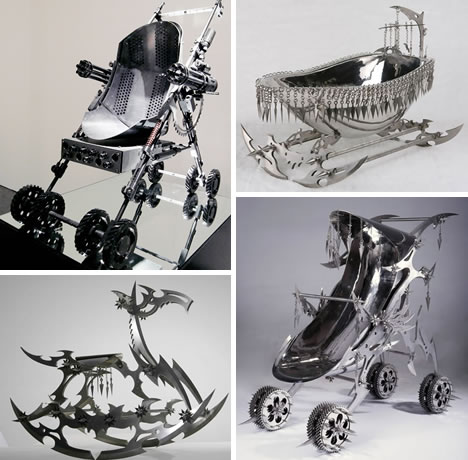 Chinese Artist Shi Jinsong Created Sculptures Depicting Baby Accessories Which Would Fit Right In As Toys For The Addams Family Or A Future Terminator