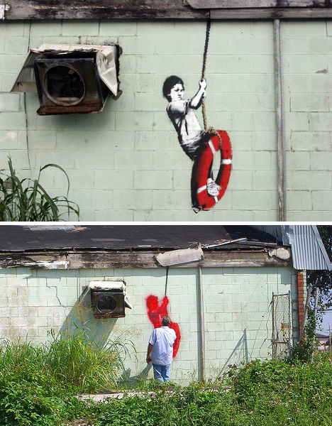 Street art war banksy vs the gray ghost in new orleans for Banksy mural painted over