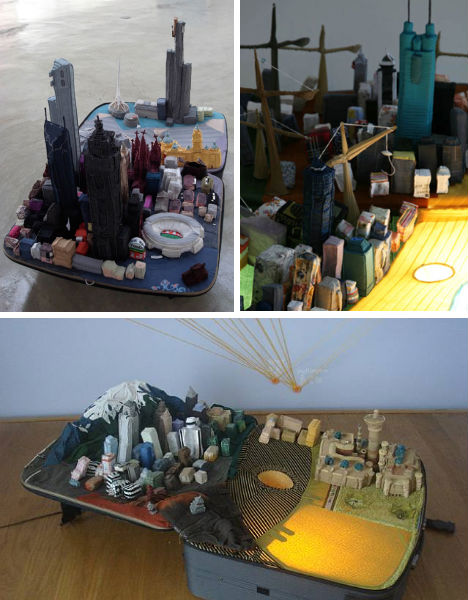 Portable Cities: Suitcase Architecture Made from Clothing