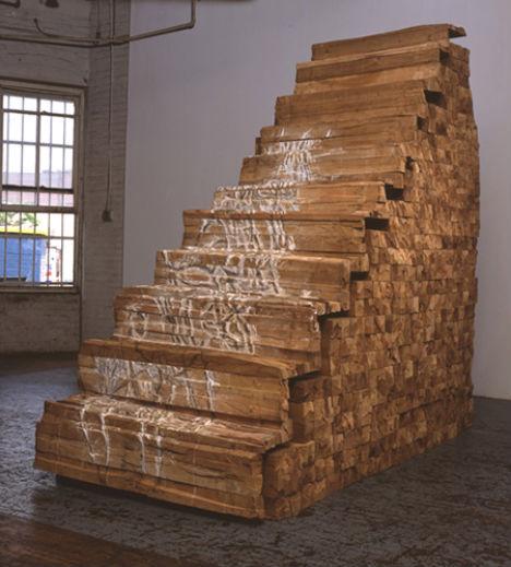 Great Cedar Stairs By Ursula Von Rydingsvard