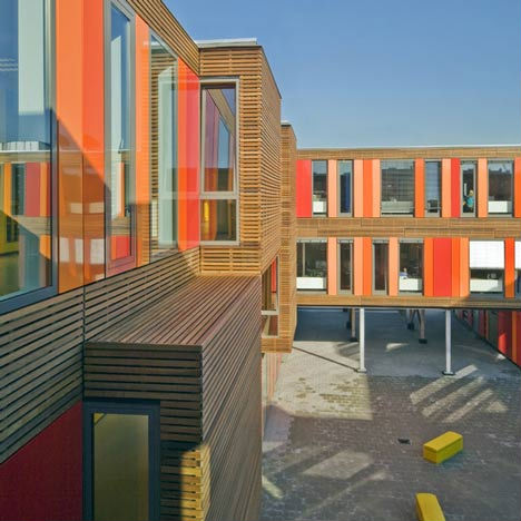 Bright and Blocky Modular Portable School in Amsterdam