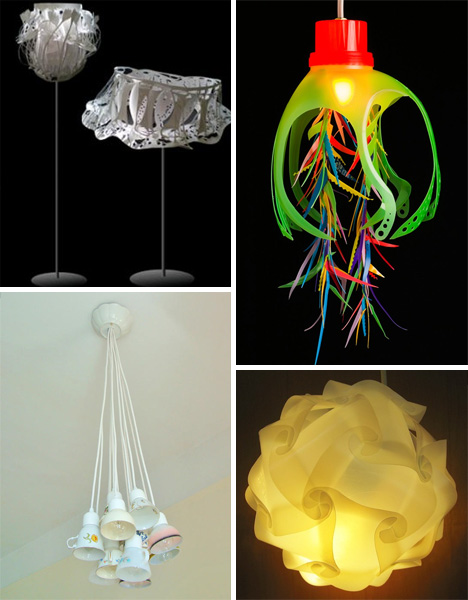 Bright ideas 41 bold beautiful bizarre recycled lamps for Items made from waste material for kids