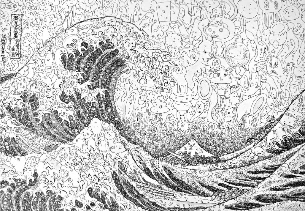 Famous Line Art Drawings : Microcosmic art famous paintings from tiny drawings