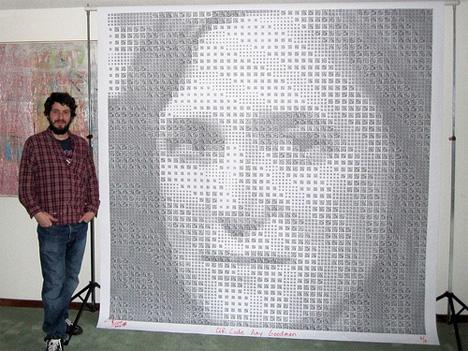 Artist Scott Blake stands beside his QR Code portrait.