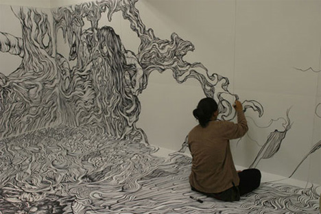 saeba: room(s) for art: wall-to-wall, floor-to-ceiling drawings