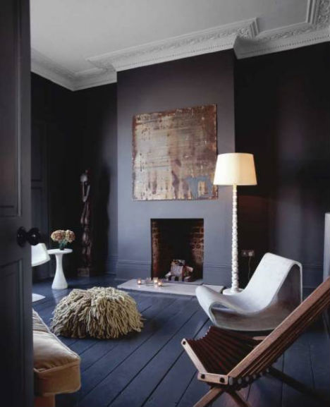 Dark dramatic design 16 bold black room interiors for Black grey interior design