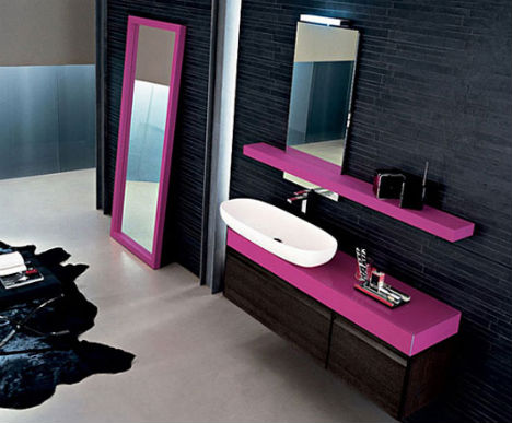Dark dramatic design 16 bold black room interiors for Pink black bathroom ideas