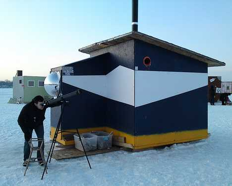 Reel cold comfort 10 creative ice fishing hut designs for Ice fishing hut