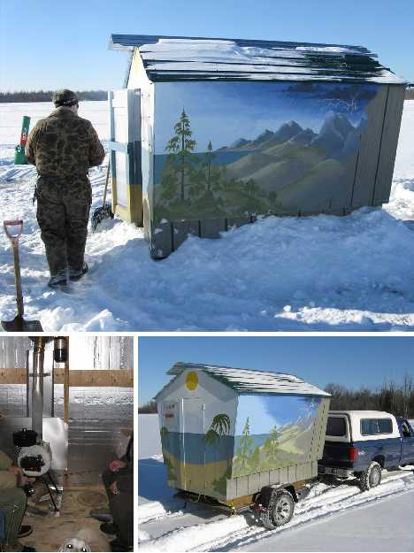 Reel cold comfort 10 creative ice fishing hut designs for Hunting hut plans