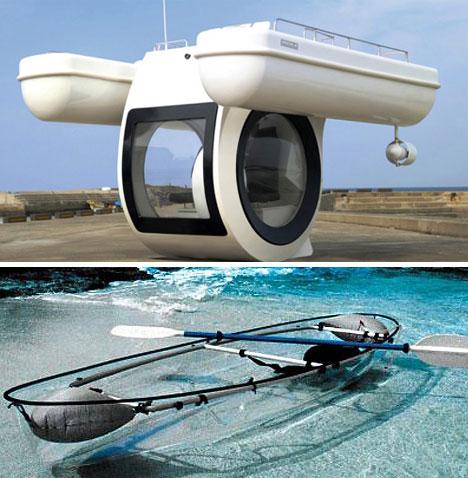 صور لوسائل مواصلات غريبة وعجيبة Glass-Boats