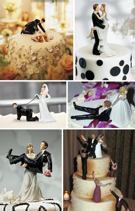 Wedding Cake Toppers Fighting