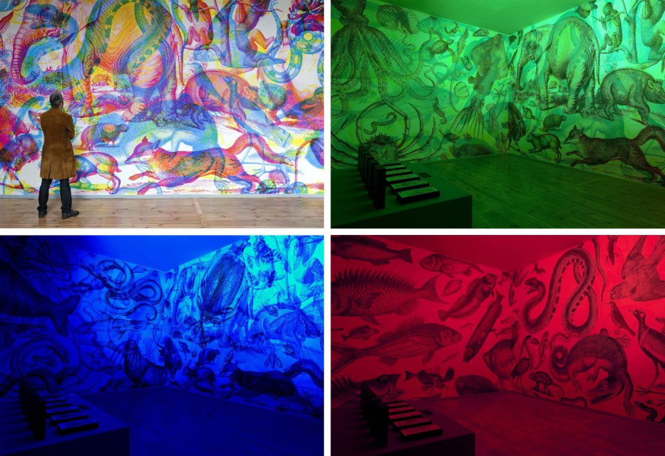 Rgb art incredible mural shifts as lighting colors change for Mural lighting