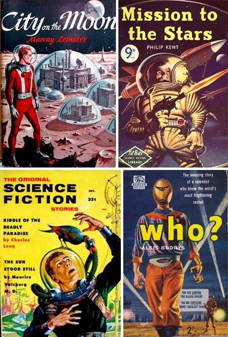Book Cover Artist Science Fiction ~ Blast off art design of retro sci fi book covers