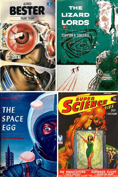 Sci Fi Book Cover Art : Blast off art design of retro sci fi book covers