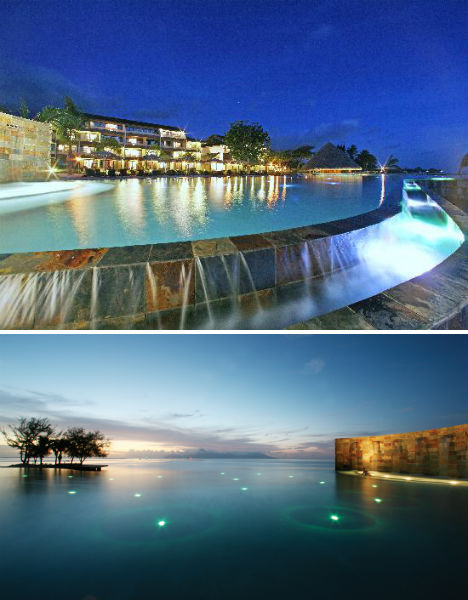 infinity pool night. Manava Suite Resort, Polynesia Infinity Pool Night