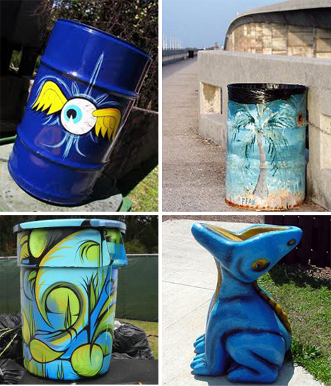 Trash Can Art Garbage Cans That Belong In A Gallery Urbanist - Street artist turns street furniture into characters