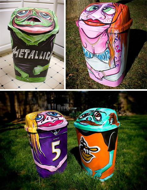 Trash can art 28 garbage cans that belong in a gallery for Creative art from waste