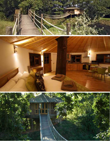 The round Treetop Holiday tree house ...