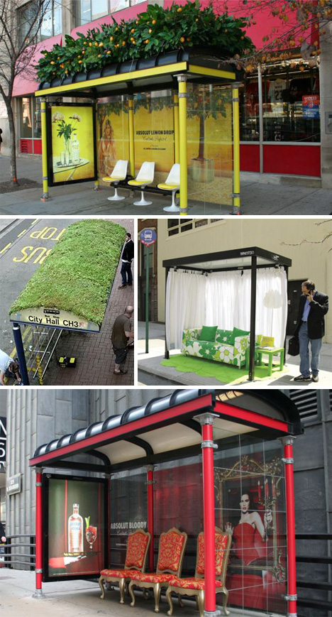 the bus stops here 34 bus stop guerilla marketing hacks urbanist. Black Bedroom Furniture Sets. Home Design Ideas
