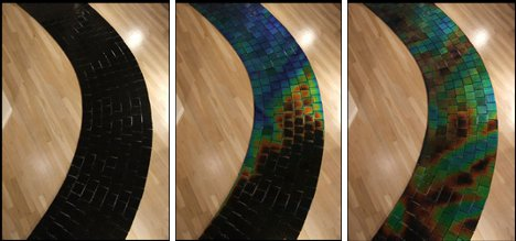 Hot cold color changing tile creates transforming Temperature sensitive glass