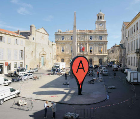 Art imitates digital life real world google map pins urbanist when you look up a city on google maps a little red icon shows you exactly where the center of that city is and it even casts a shadow gumiabroncs Choice Image