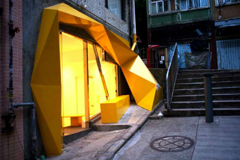 Asymmetrical and Acid Yellow Storefront for Konzepp