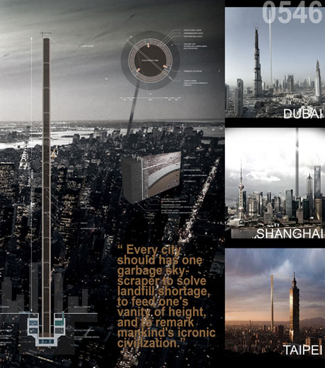 Towers of Trash: 5000 Foot Junk Skyscrapers to Fuel Cities