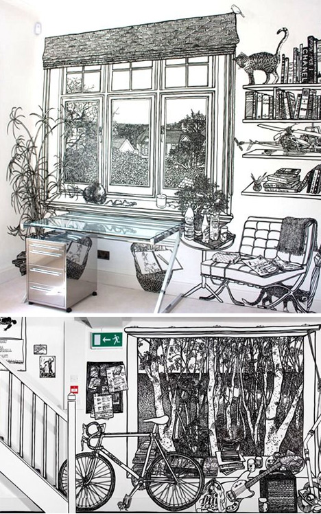 Living Room Sketch: Wall Art Gone Wild: Fantastic Life-Sized Room Sketches