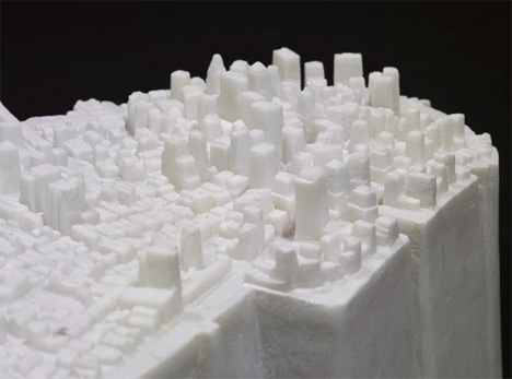 Incredibly Intricate 2.5 Ton Carved Marble Manhattan