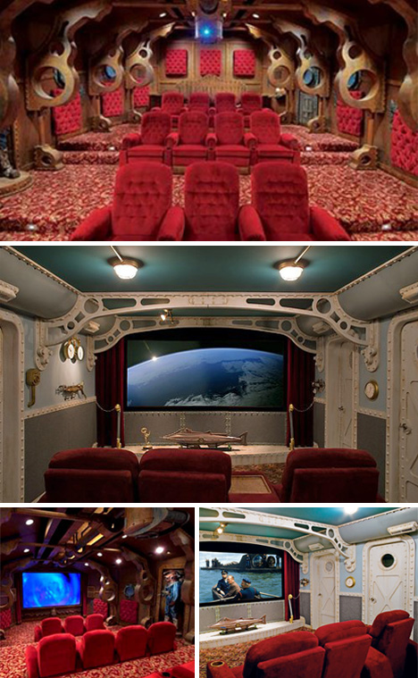 Submarine themed home theater room