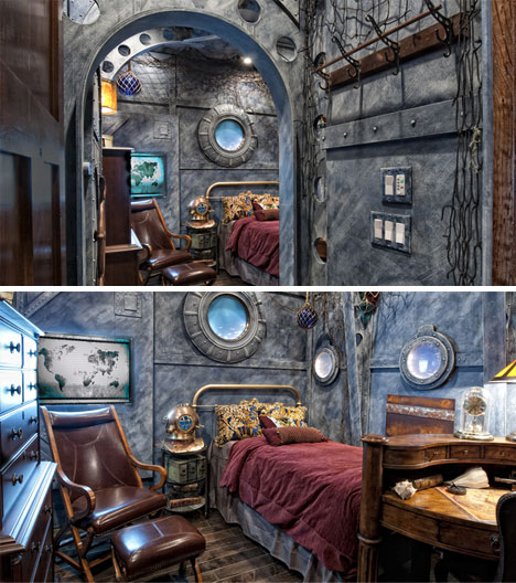 Dive dive dive 16 incredible submarine themed rooms for Steampunk living room ideas