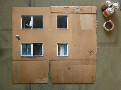 Miniaturist Crafts Cardboard Streetscapes from Scraps