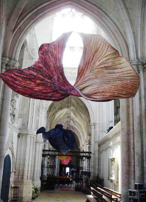 Giant Paper Flowers Bloom Inside Abbey Church In France Urbanist