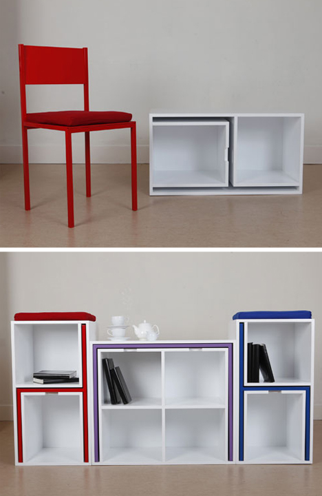 Table With Hidden Chairs chairs from nowhere: secret table & seats hide in shelves | urbanist