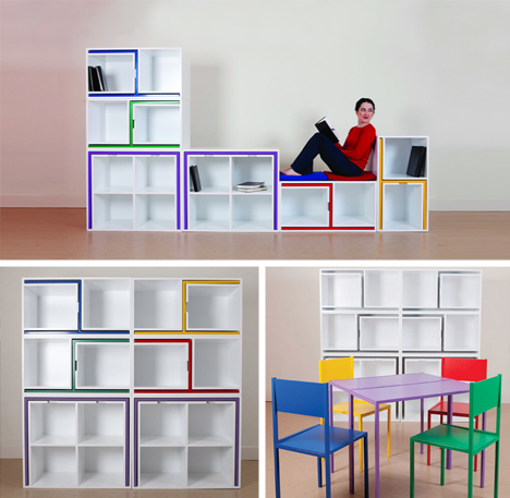 chairs from nowhere: secret table & seats hide in shelves | urbanist