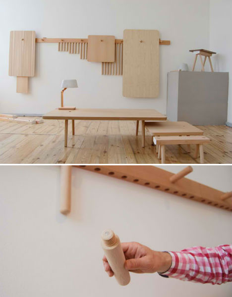 Minimalist Wood Peg Furniture is Easy to Assemble & Store | Urbanist