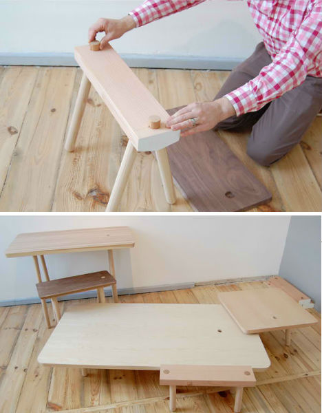 Minimalist Wood Peg Furniture is Easy to Assemble & Store