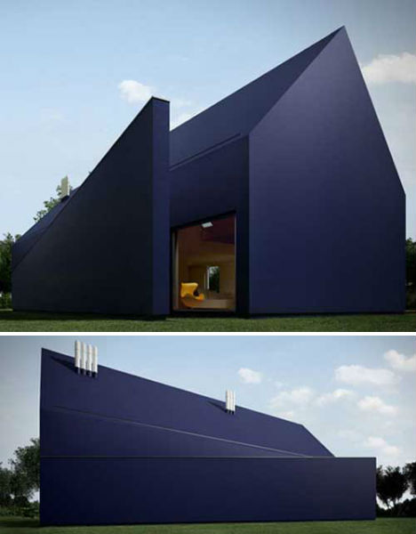 Black buildings 15 examples of monochromatic architecture for Minimalist house materials