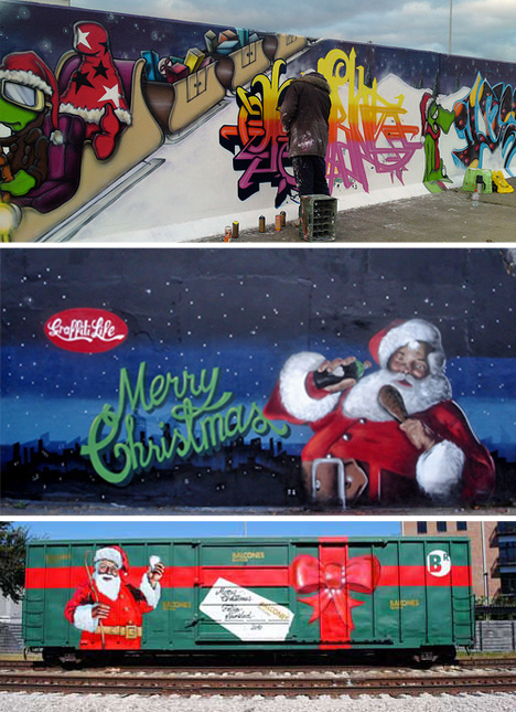 Season s graffitis 16 santalicious christmas murals for Christmas mural