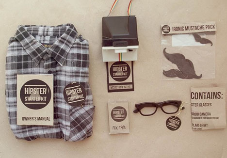 Hipster Starter Kit Complete With Ironic Mustache More