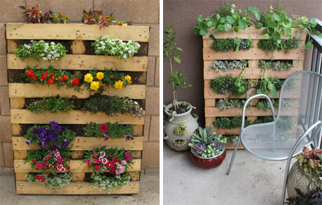 13 diy pallet projects to load your house with charm for Portavasi con bancali