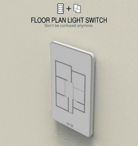 Floor Plan-Shaped Light Switch