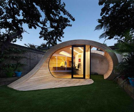 shell shaped shoffice backyard shedoffice combo urbanist backyard shed office