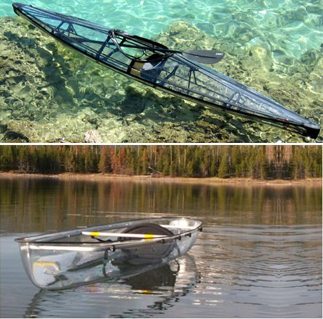 clear kayak and canoe